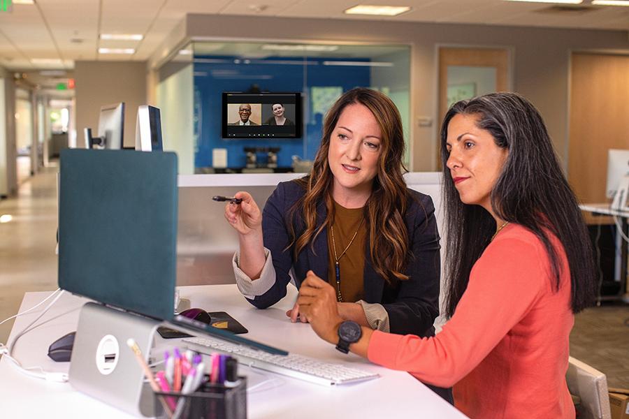 Women reviewing data